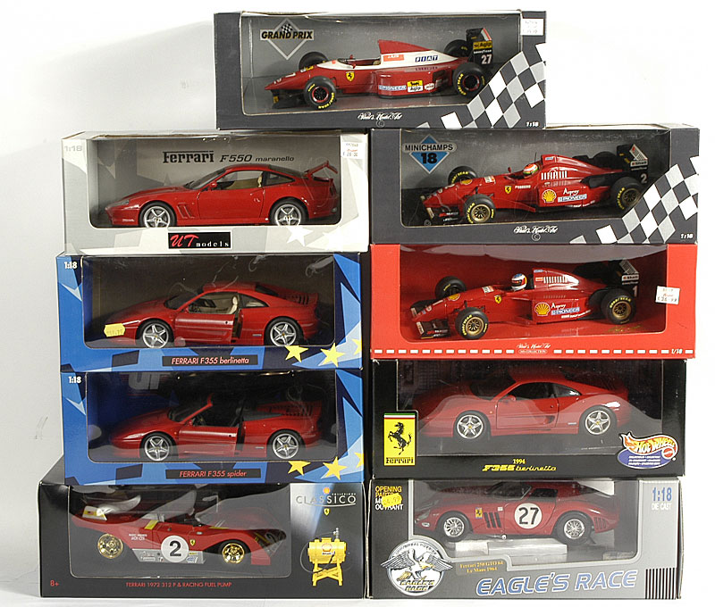 Ferrari Formula 1 models by Grand Prix Models, Shell Classic, Eagle Race and others 1/18th scale including - F93A Jean Alesi, Michael Schumacher