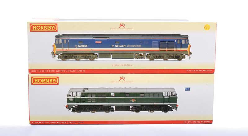 Hornby (China) a pair of Diesel Locos comprising R2350 Co-Co NSE blue livery Class 50 No