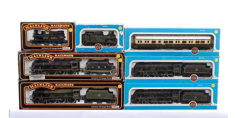 OO Gauge a group of Steam Locos comprising Mainline Railways 37057 4-6-0 BR green Royal Scot Class No