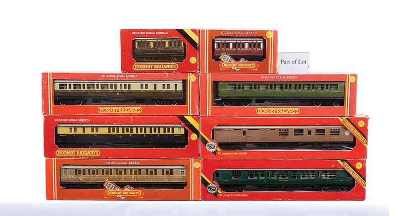 Hornby Railways a group of Passenger Coaches comprising 4 x R477 LNER teak Gresley Composite, R4008C SR malachite green Brake/3rd, R161 GWR brown and cream Brake/3rd, R430 GWR brown and cream Brake/3rd, R439 SR green Brake/3rd, R933 SR green Composite, R9