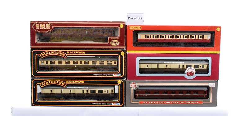 OO Gauge a group of Passenger Rolling Stock comprising Hornby (China) R4179 crimson and cream Gresley 1st Class, R4180A crimson and cream Gresley 3rd Class, both are latest style scalelength Coaches, Airfix BR maroon Centenary Composite, BR maroon Centena