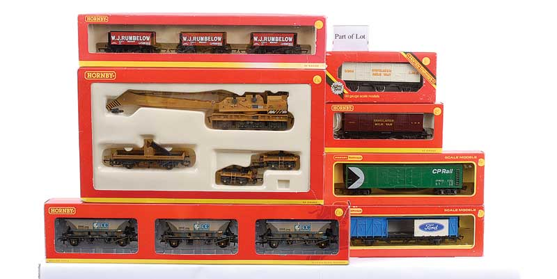 OO Gauge a group of Goods Rolling Stock comprising Hornby (China) 4 x 100 ton Tanker (R6284 Petroplus, R6246 BP, 2 x R6166 Murco), 3 x packs containing 3 Wagons (R6115 Nathaniel Atrill 5 plank Open, R6086 WJ Rumberlow 5 Plank Open, R6223 China Clay CDA Ho