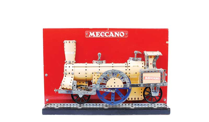 Meccano 1950s factory built demonstration model of a 2-4-2 Locomotive in yellow and blue
