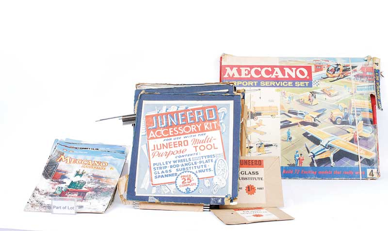 Juneero (Borehamwood, Herts, England) containing pulley wheels, strips, rods, angle plates, glass substitute and a number of other items