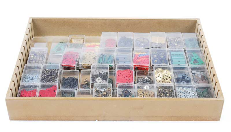 Meccano - quantity of small Components including Gears, Sprockets, Wheels, Flanged Wheels, Collars, Couplings, Nuts, Bolts, Washers and a number of other useful Components all contained in 70 clear plastic boxes