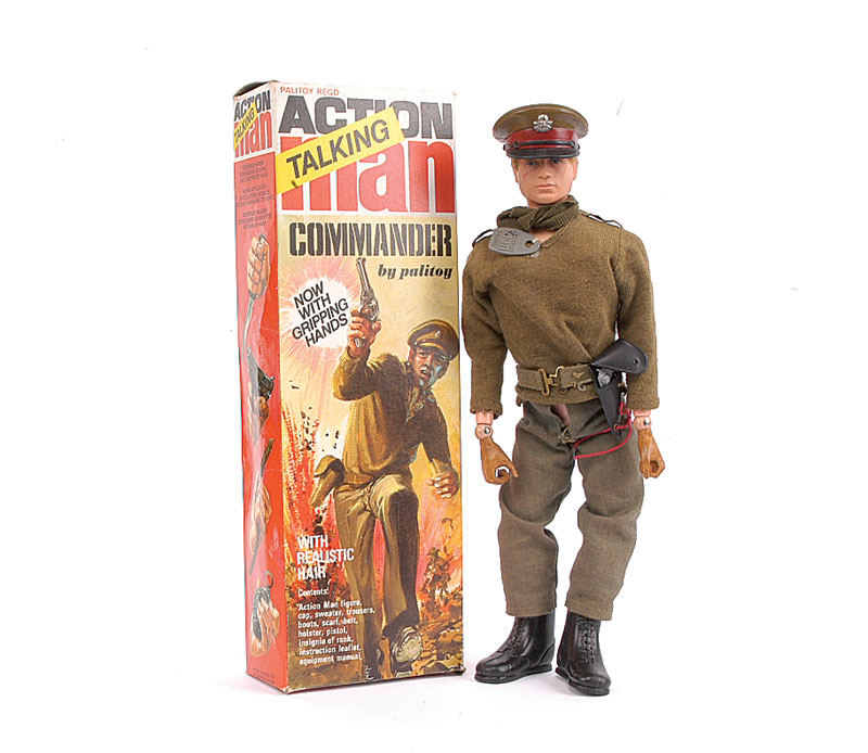 Palitoy Action Man Talking Commander 1970s 34051 Blonde Flock Hair Blue Eyes Gripping Hands Degraded And Brittle Wearing Cap Sweater Trousers