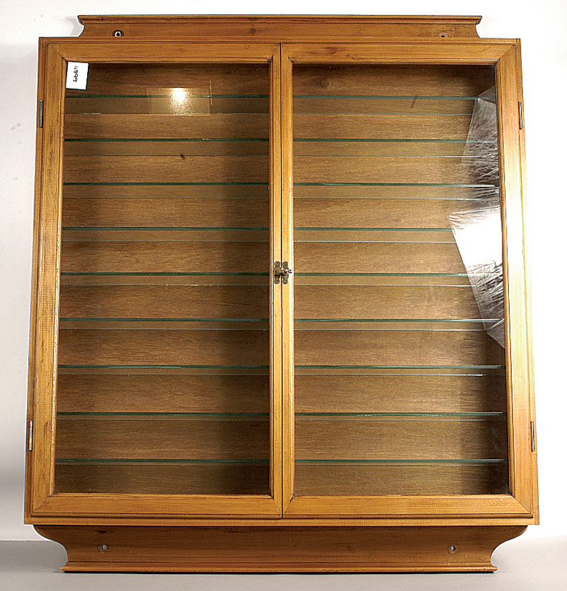 Large double fronted wall mounted timber/glazed Display Cabinet - 88cm high 90cm wide and 12cm deep ... & Large double fronted wall mounted timber/glazed Display Cabinet ...