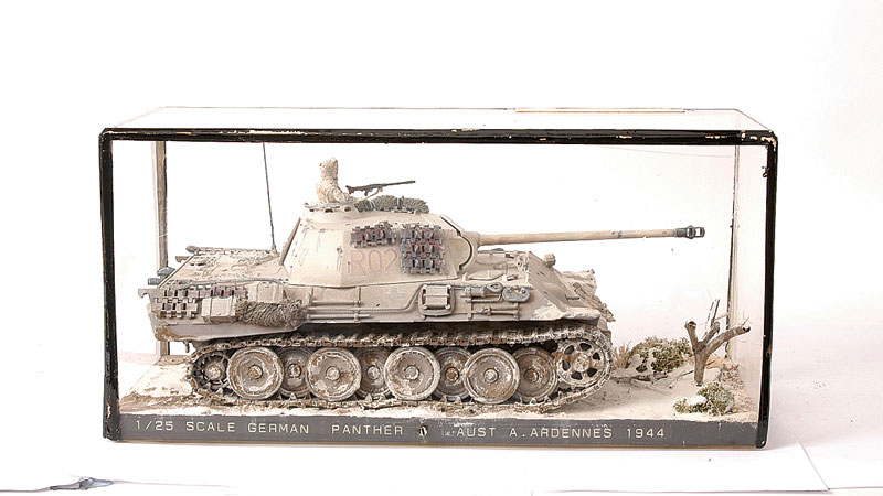 Kitbuilt 125th scale german panther tank set into detailed kitbuilt 125th scale german panther tank set into detailed diorama depicting the ardennes area of publicscrutiny Gallery